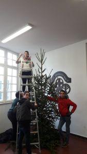 Die Klasse 7 – 9 stellt den Weihnachtsbaum auf